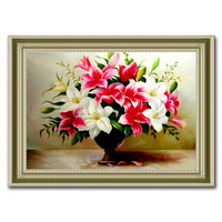 5d cube diamond flower vase painting lily series living room restaurant bedroom 3d round diamond cross stitch embroidery