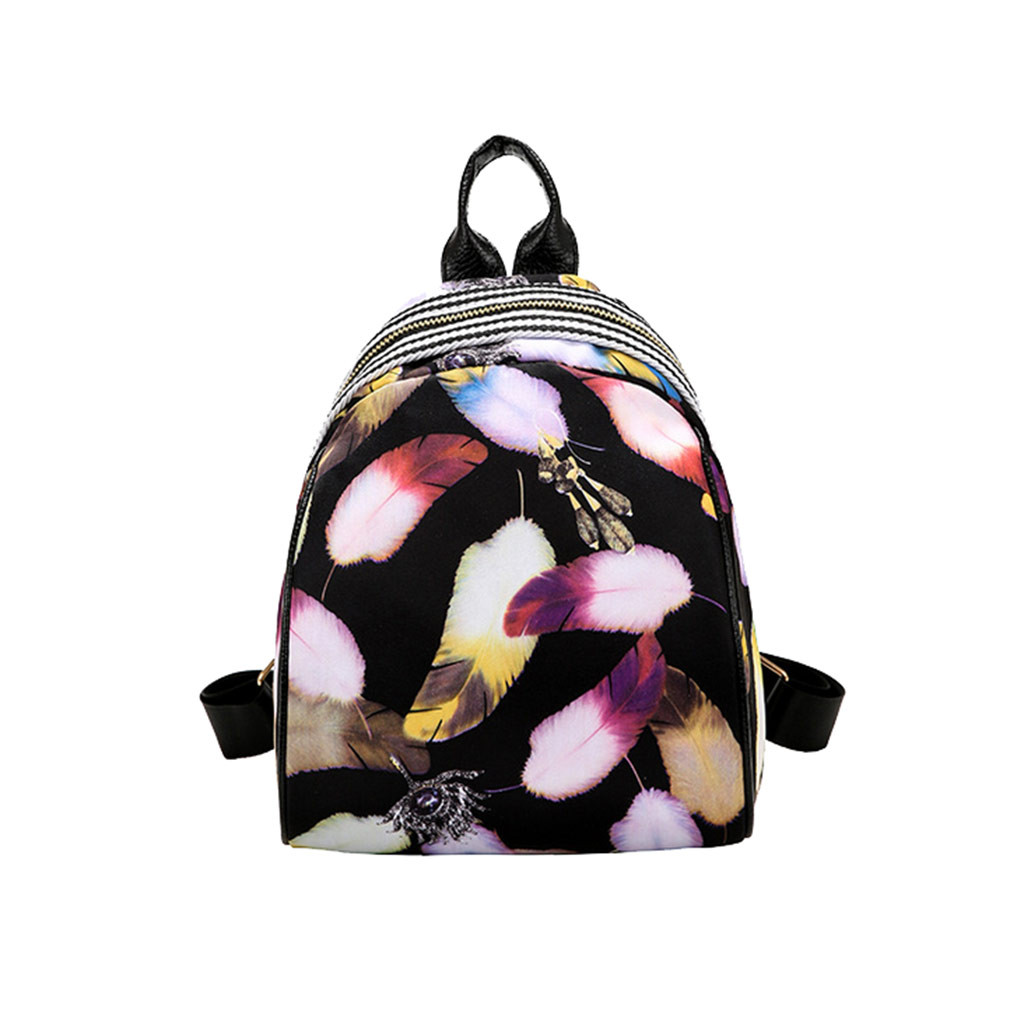 New 2019 Fashion harajuku girls cute mini Backpack women's travel shoulder bag landscape feather flower Shell package dropship(China)