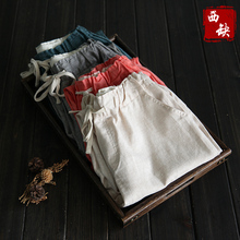 2017 new cotton and linen Brief loose elastic waist lacing fluid female summer casual pants capris