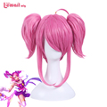 L-email wig 2016 New Game LOL Skin Star Guardian Magical Girl Lux the Lady of Luminosi Rose Synthetic Hair Peruca Cosplay Wigs