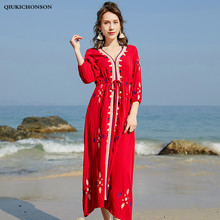 Women Summer Beach Dress Seven Sleeve V Neck Vintage Ethnic Embroidery Bohemian Dresses Ladies Slim Waist Midi Red Chiffon
