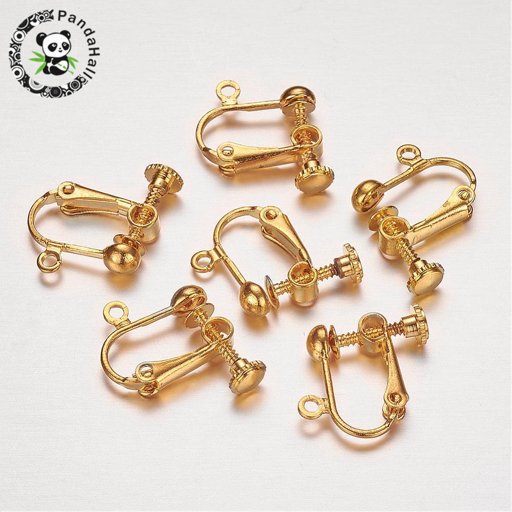 300 piezas tornillo de latón Clip pendientes convertidor hallazgos para orejas no perforadas oro plata joyería accesorios 7x13,5 x 5mm agujero: 1,2mm-in Fornituras y componentes de joyería from Joyería y accesorios    1