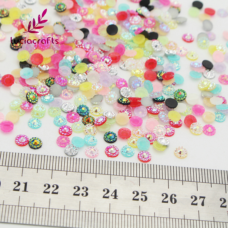 Lucia Crafts 144pcs/288pcs 5mm Multi color options Glitter Sunflower Resin Drill FlatBack Bead Decoration 15010550