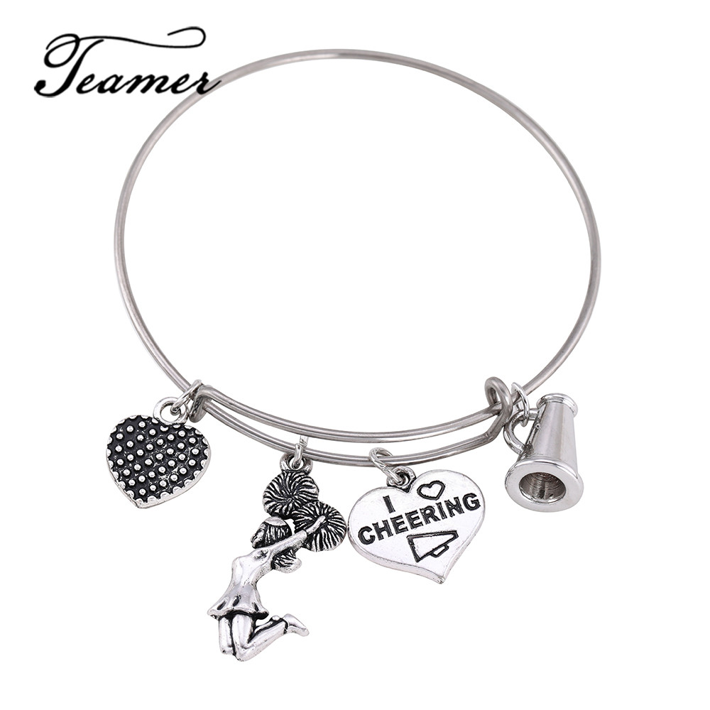 Teamer Cheer Girls Heart Charm Stainless Steel Expandable