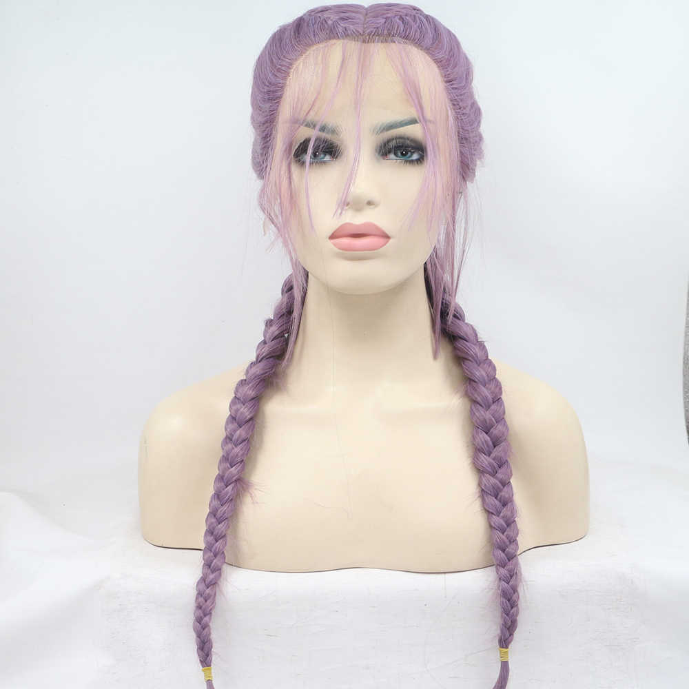 Фэнтези Красота фиолетовый долго Плетеный Парики высокого Температура натуральный 2x твист косы Синтетические волосы на кружеве парики с волосами младенца