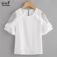 Dotfashion Sheer Insert Frill Trim Blouse 2018 New Fashion White Round Neck Short Sleeve Women Top