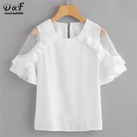 Dotfashion Sheer Insert Frill Trim Blouse 2018 New Fashion White Round Neck Short Sleeve Women Top
