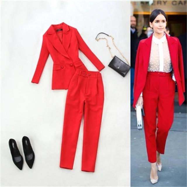 Fashion suit suit femme plus size 2019 spring and summer new big red waist double-breasted suit + high waist pants suit women