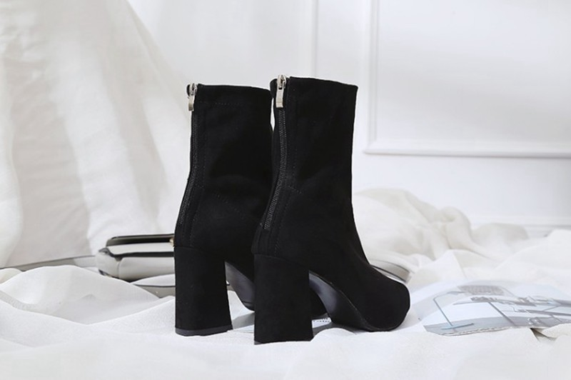 COOTELILI Fashion 8.5cm High Heels Ankle Boots For Women Black Autumn Winter Shoes Women Zipper Pumps Ladies Boots 35-39 (6)