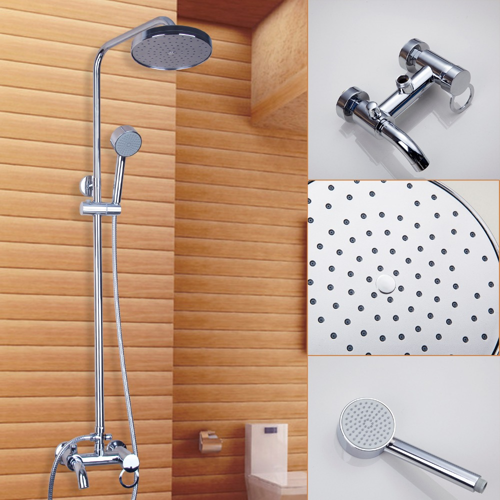 New Arrival Bathroom Shower Set Polished Chrome Wall Mounted Shower Faucet Shower Head Water Saving Shower Set Mixer Tap bathroom faucet modern round 8 shower head set faucet shower set polished chrome dual handle wall mounted shower mixer tap