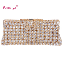 Fawziya Clutch Bag Fashion Luxury Lady 2016 Metal Diamonds Bow Closure Sparking Diamonds Evening Handbag