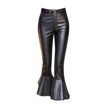 2017 Autumn Winter Women Faux Leather Pants & Capris Bell Botton PU Pants Female Calf Length Trousers  Flare Trousers