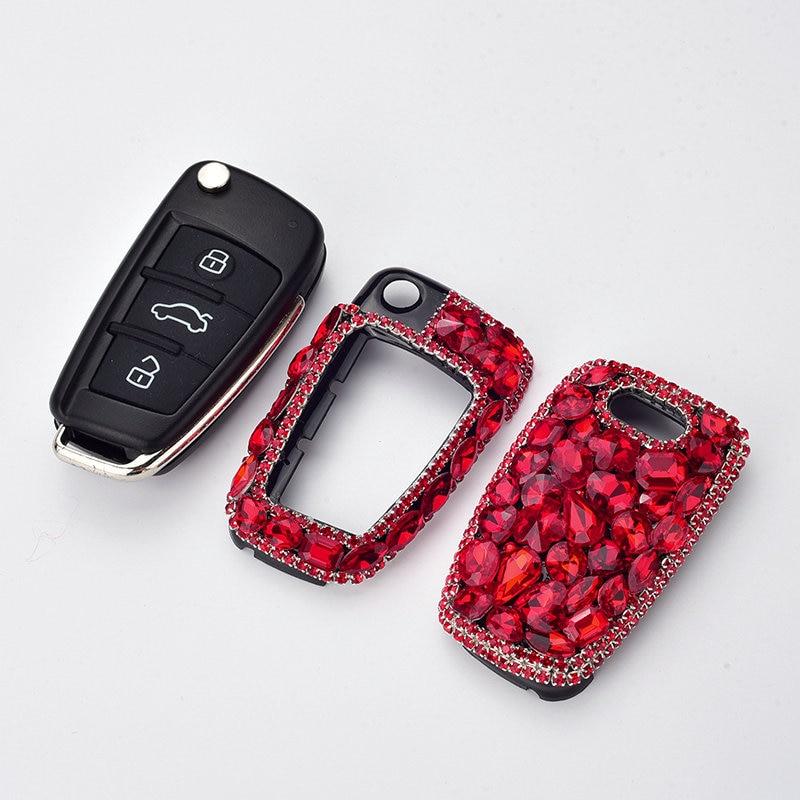 1 pièces dame Style élégant cristal diamant bijoux décoration Smart voiture clé housse pour Audi C6 A6 A7 A8 R8 A1 A3 A4 A5 C5 Q7