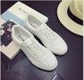 Весна Лето джокер белый обуви леди ветер отдыха парусиновые туфли с плоским студенческие обувь одного