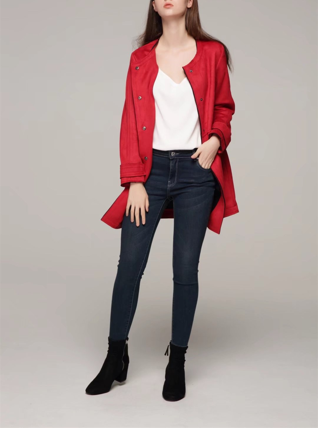 2018 New Women Autumn Winter Bodycon Jackets Elegant Patchwork Faux   Leather   Coat Lady Red   Suede   Matte Long Outwear