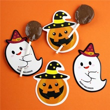 50PCS Halloween Pumpkin Ghost Lollipop Paper Card Cake Pop Holder Sugar Candy Chocolate Decoration