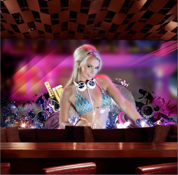 3D stereoscopic wallpapers themed hotel bar KTV nightclub sexy girl wallpaper non-woven wallpaper mural papel de parede Decor pastoral large flower wallpapers 3d stereoscopic non woven embossed wallpaper for living room bedroom home decor papel de parede