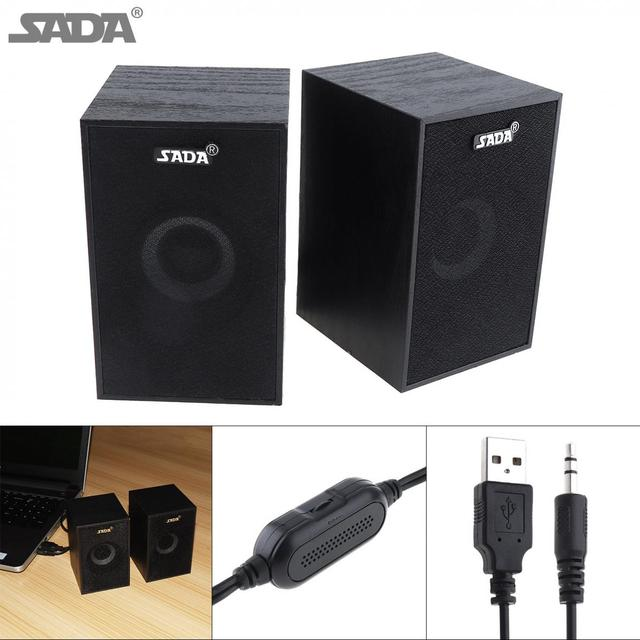 SADA  Portable Mini Wooden Subwoofer Computer Speaker with 3.5mm Audio Plug and USB 2.0 Interface for DVD TV Desktop PC Laptop