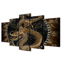 Canvas HD Printed Posters 5 Pieces Chinese Golden Dragon Paintings Wall Art