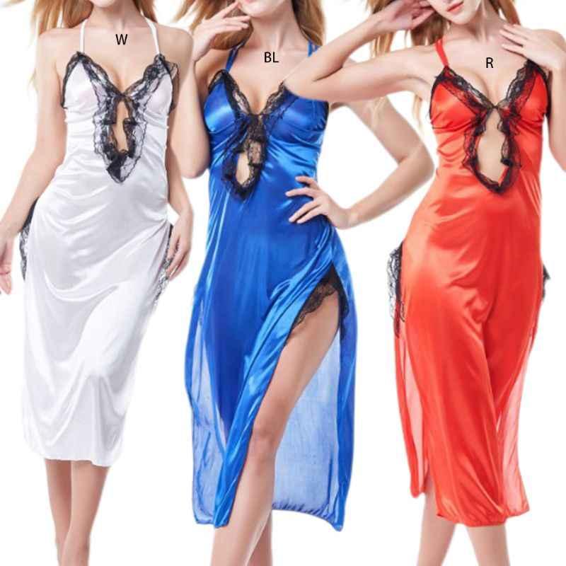 فستان لانجيري نسائي مثير مصنوع من الحرير على شكل حرف v بدون ظهر ورباط ورباط ورباط ثوب نوم مجوف من الأمام