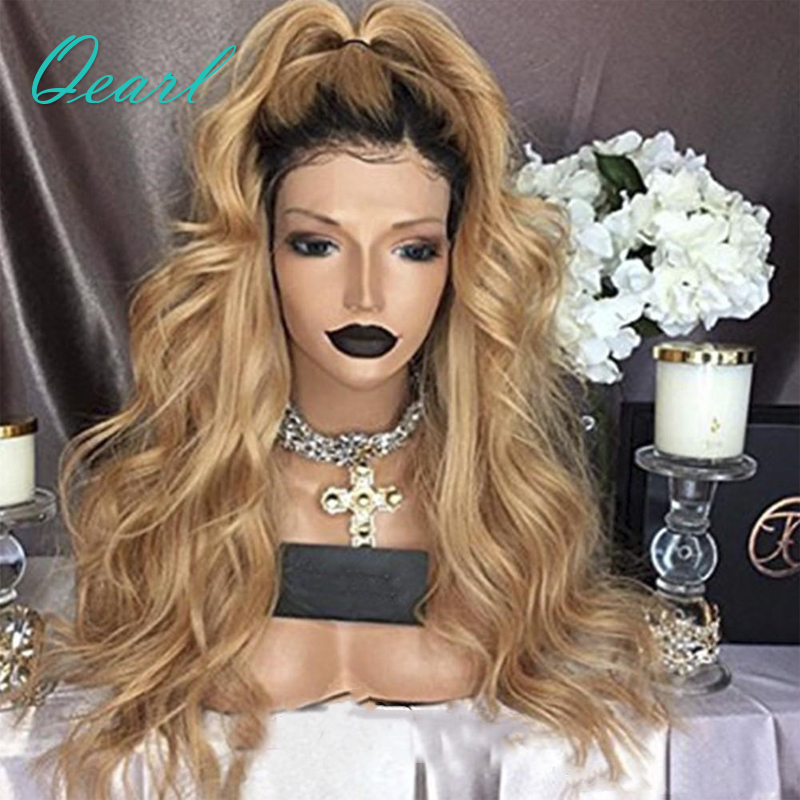 Qearl Hair 130% Density Body Wave Lace Front Human Hair Wigs Ombre 1B/27 Black Roots Brazilian Virgin Hair Lace Front Wig