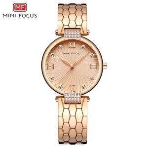 Image 1 - MINI FOCUS marka luksusowe modne zegarki kobiety zegarek kwarcowy zegarek dla kobiet kobiet panie Relogio Feminino Montre Femme różowe złoto