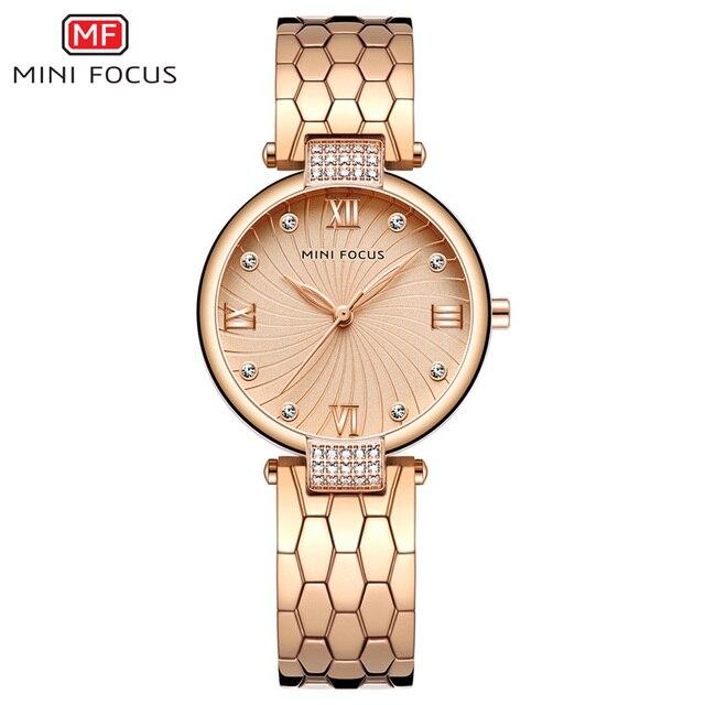 MINI FOCUS marka luksusowe modne zegarki kobiety zegarek kwarcowy zegarek dla kobiet kobiet panie Relogio Feminino Montre Femme różowe złoto