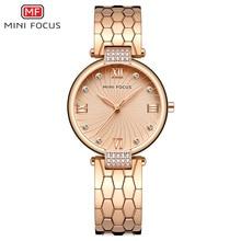 MINI FOCUS العلامة التجارية الفاخرة موضة ساعات نسائية كوارتز سيدة ساعة اليد النسائية السيدات Relogio Feminino Montre فام الذهب الوردي