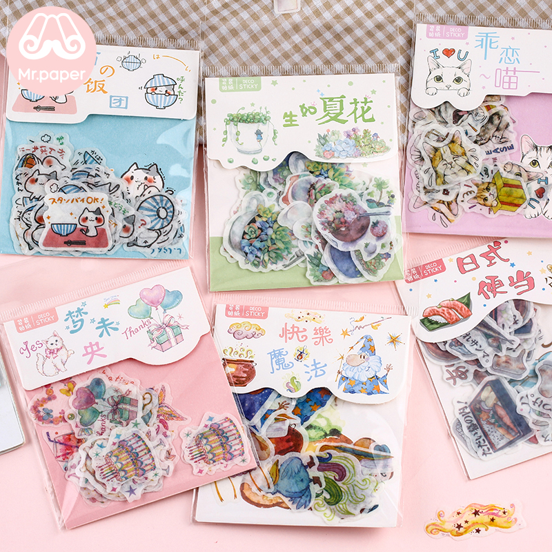 Mr.paper 40Pcs/bag Japanese Kawaii Cartoon Comic Magic Deco Diary Stickers Scrapbooking Planner Decorative Stationery Stickers