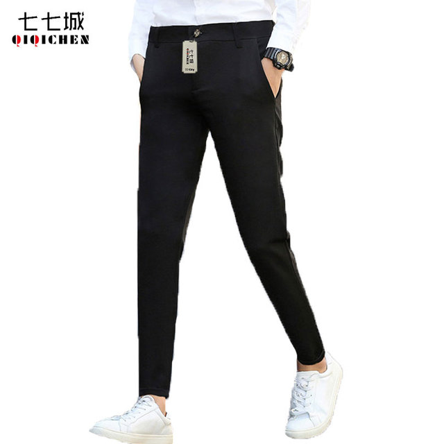 Autumn 2019 Korean Mens Dress Pants Formal Business Casual Slim Fit