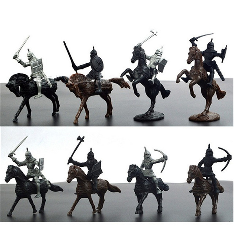 28pcs/set S Warrior Horses Medieval Toy Soldiers Figures Playset Mini Model Toys Gift Decor For Children Adult