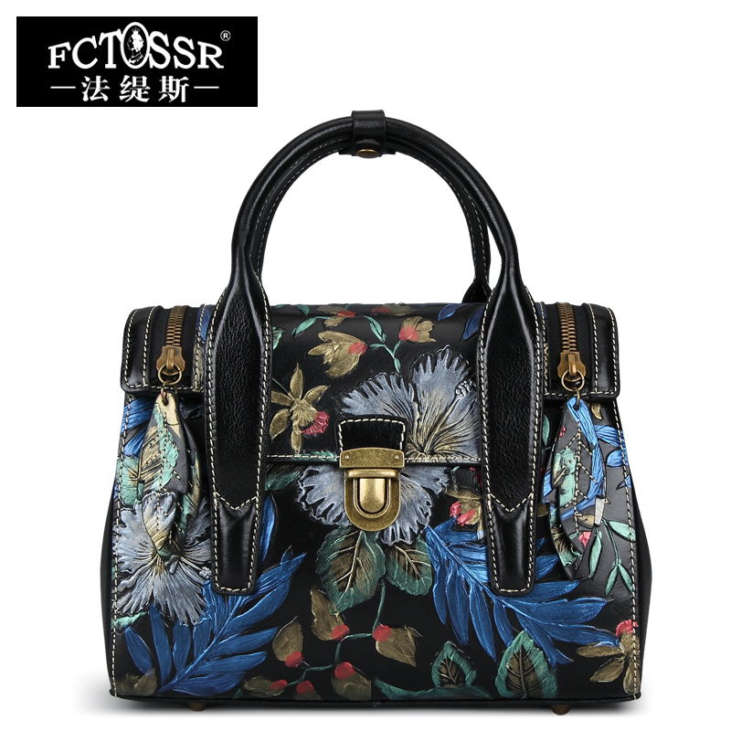 Fashion Womens Handbag 2018 Latest Shoulder Sling Bags Handmade Genuine Leather Messenger Top-handle Shell Bags Hand Painted