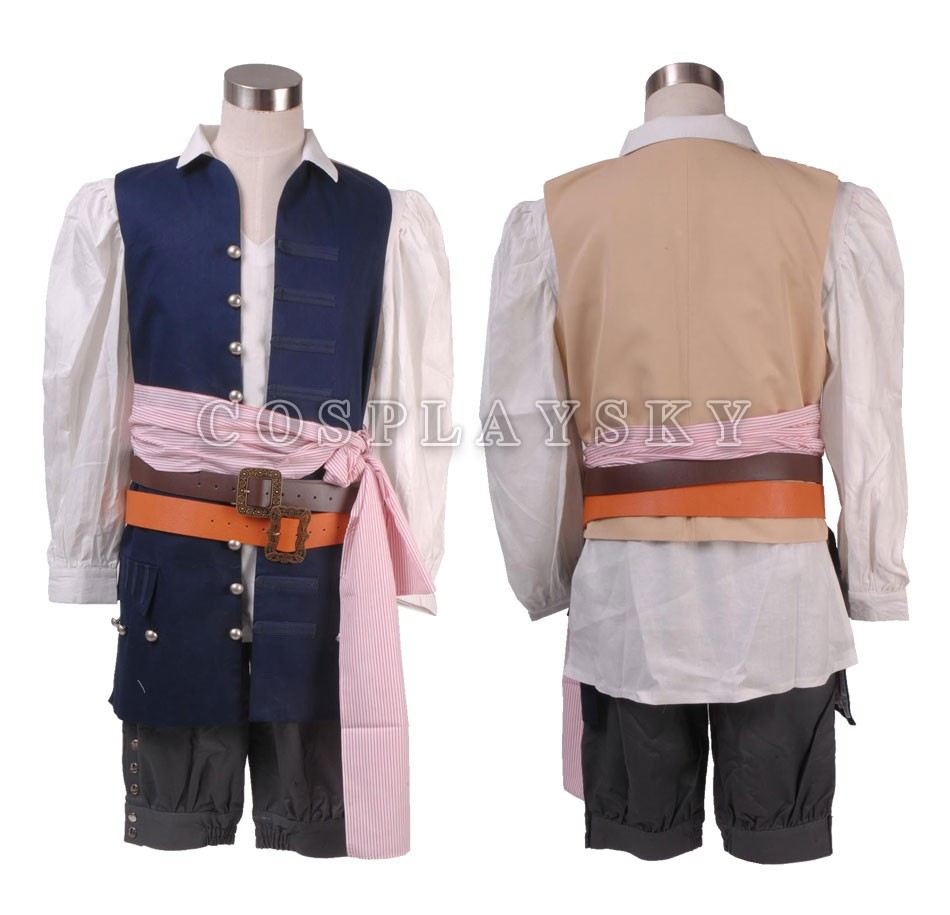 Pirates of the Caribbean Jack Sparrow Cosplay Costume Full Set_02