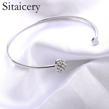 Sitaicery 2019 New Adjustable Crystal Double Heart Bow Cuff Opening Bracelet For Women Charm Jewelry Gift Mujer Girls