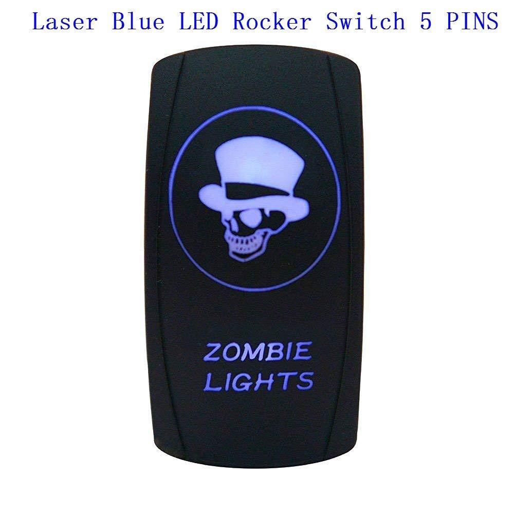 RED ROCKER SWITCH LASER ETCHED 20A 12V LED DRIVING LIGHTS