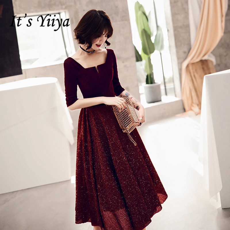 It's YiiYa   Cocktail     Dresses   Elegant Sequined Party Formal   Dress   Royal Half sleeves Zipper Back A-line Tea Length Prom Gown E368