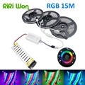 20M 15M 10M waterproof RGB Led Strip Light 5M  SMD3528 DC12V  +12V Power Supply+ 18A  wireless touch RF controller