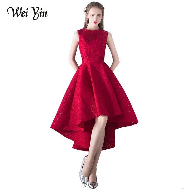 bced42966 Weiyin جديدة بسيطة أنيقة فساتين السهرة العروس النبيذ الأحمر الرباط قطعتين  عالية/منخفضة أكمام حزب