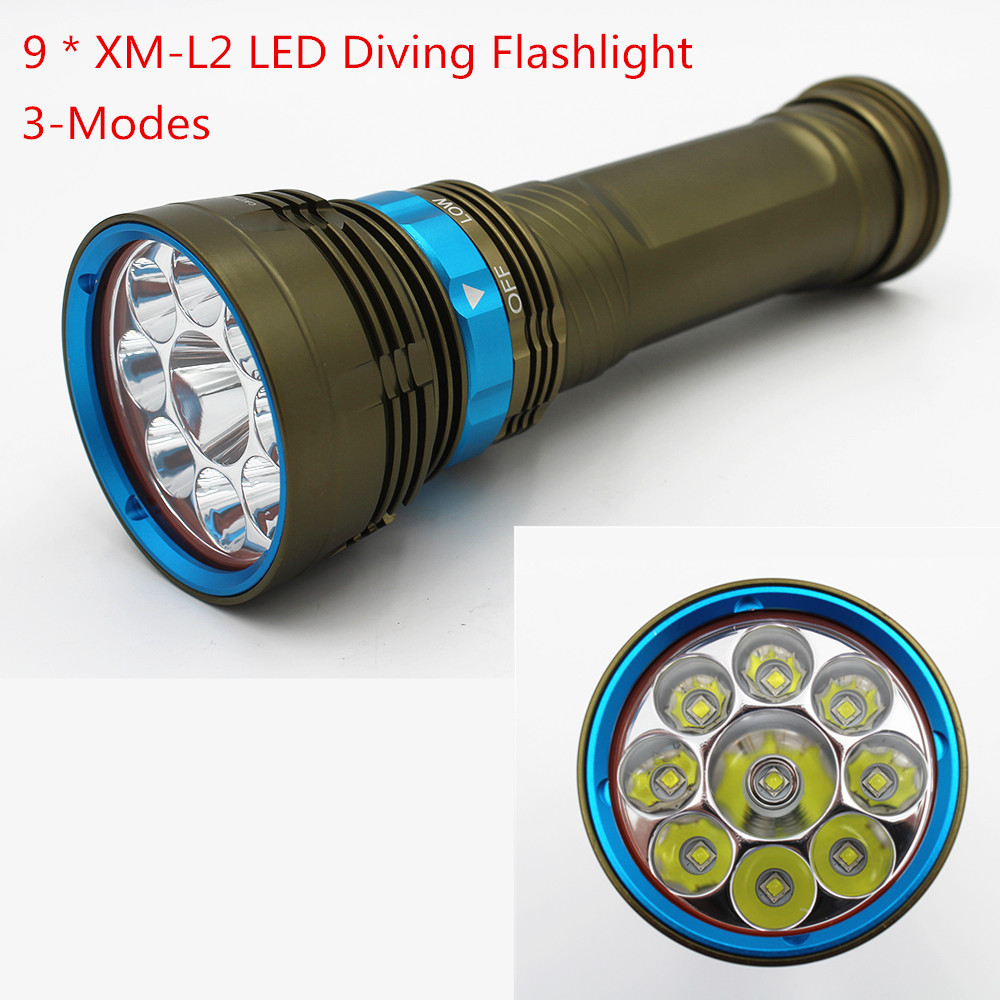 Tactical Waterproof Diving Flashlight 9000Lm 9x XM-L2 LED Dive Light Underwater Scuba Flashlight Torch waterproof ultraviolet diving light 3x uv led lamp diving flashlight scuba torch dive lanterna pcb 26650 battery eu charger