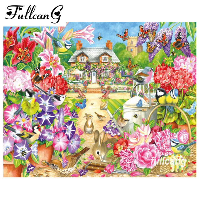 Fullcang 5d Diamond Embroidery Spring Flowers And Birds Mosaic