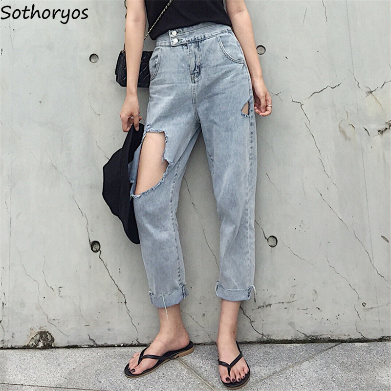 Jeans Women Trendy Hole Large Size All-match Loose Casual Female Loose Pockets Zipper Womens Elegant High Quality Outdoor Lovely