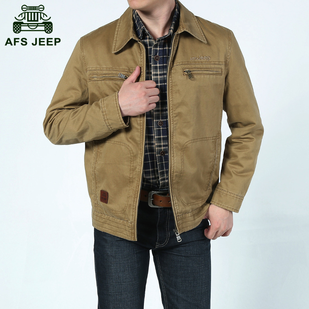 Aliexpress com buy afs jeep 2015 spring men casual brand 100 pure cotton leisure khaki jacket coat man jaqueta male army green jackets coats 629 from