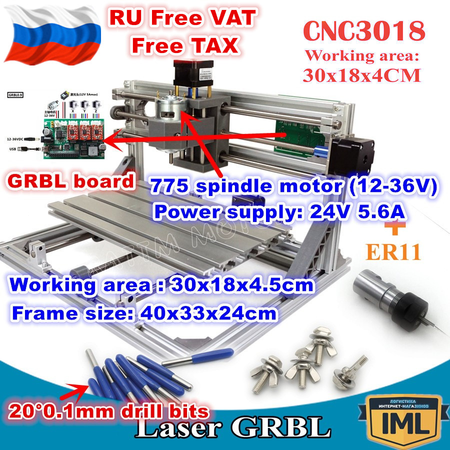[Free RU Delivery] DIY 3018 GRBL Control 3 Axis CNC Machine +ER11 Collet CNC Milling Machine Wood Router Laser Engraving Kit[Free RU Delivery] DIY 3018 GRBL Control 3 Axis CNC Machine +ER11 Collet CNC Milling Machine Wood Router Laser Engraving Kit