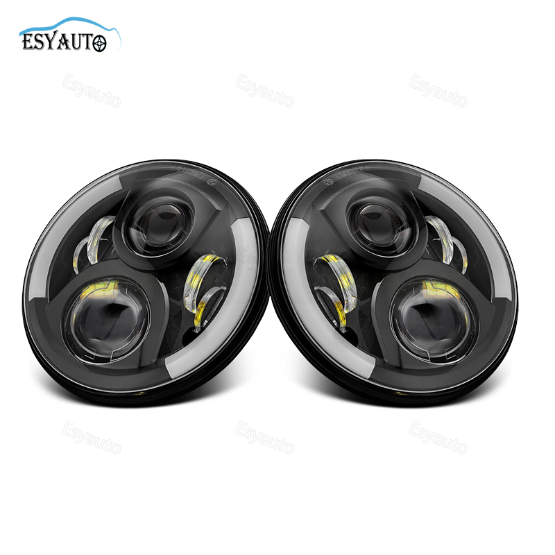 1pair 40W 7inch led led headlight amber angel eye ring hi lo beam H4 H13 connector 4X4 offroad truck for wrangler jeep 1 pair 7 inch 78w cree chips h4 hi lo led headlight lamp angel eye drl bulb for jeep wrangler offroad