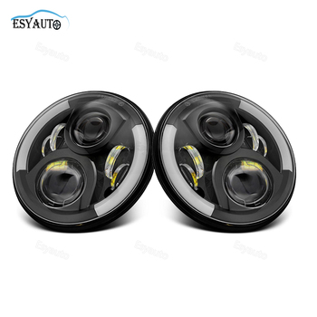 1pair 40W 7inch led led headlight amber angel eye ring hi lo beam H4 H13 connector 4X4 offroad truck for wrangler jeep