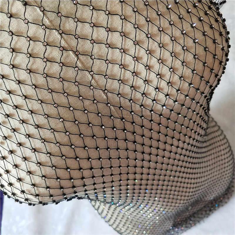 Шикарные Стразы Белый Черный Сетчатое Открытое платье сексуальное без рукавов ажурное облегающее платье женское летнее пляжное Клубное вечернее платье
