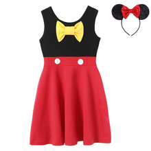 Summer Mickey Dress Kids Dresses For Girls Cartoon Modeling Toddler Cotton Clothes Children Casual Red Robe Infant Black Frock summer baby girls suspender dress kids cotton soft dresses for girls toddler casual vest children sundresses infant clothes 2 6y