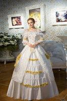 100% Настоящее Белое кружево золотой урожай длинные бальный наряд средневековой платье эпохи Возрождения платье королевы платье в викториан