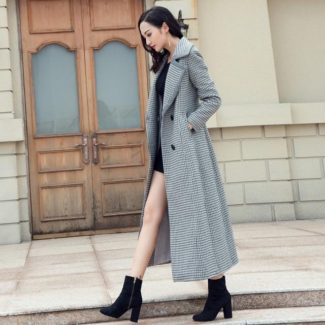 fashion long winter wool coat turn down collar elegant houndstooth
