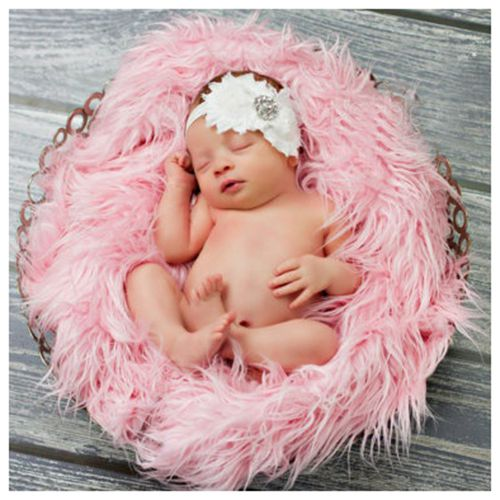 Baby Newborn Faux Fur Photography Photo Props Blanket Basket Stuffer Rug Beanbag Background Backdrop Pink
